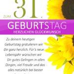Schlichte Geburtstagskarte mit Sonnenblumen zum 31. Geburtstag
