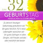 Schlichte Geburtstagskarte mit Sonnenblumen zum 32. Geburtstag
