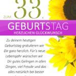 Schlichte Geburtstagskarte mit Sonnenblumen zum 33. Geburtstag