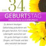 Schlichte Geburtstagskarte mit Sonnenblumen zum 34. Geburtstag