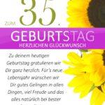 Schlichte Geburtstagskarte mit Sonnenblumen zum 35. Geburtstag