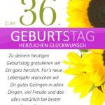 Schlichte Geburtstagskarte mit Sonnenblumen zum 36. Geburtstag