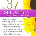 Schlichte Geburtstagskarte mit Sonnenblumen zum 37. Geburtstag