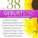Schlichte Geburtstagskarte mit Sonnenblumen zum 38. Geburtstag