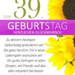 Schlichte Geburtstagskarte mit Sonnenblumen zum 39. Geburtstag