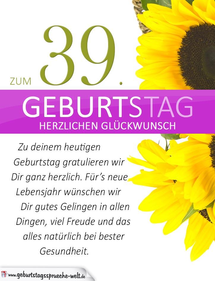 Schlichte Geburtstagskarte Mit Sonnenblumen Zum 39 Geburtstag