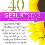 Schlichte Geburtstagskarte mit Sonnenblumen zum 40. Geburtstag