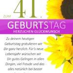 Schlichte Geburtstagskarte mit Sonnenblumen zum 41. Geburtstag