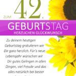 Schlichte Geburtstagskarte mit Sonnenblumen zum 42. Geburtstag