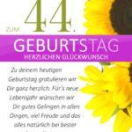 Schlichte Geburtstagskarte mit Sonnenblumen zum 44. Geburtstag