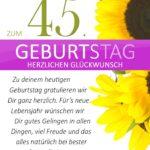 Schlichte Geburtstagskarte mit Sonnenblumen zum 45. Geburtstag