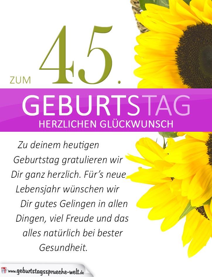 sprüche zum 45 geburtstag Schlichte Geburtstagskarte mit Sonnenblumen zum 45. Geburtstag  sprüche zum 45 geburtstag