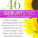 Schlichte Geburtstagskarte mit Sonnenblumen zum 46. Geburtstag