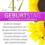 Schlichte Geburtstagskarte mit Sonnenblumen zum 47. Geburtstag