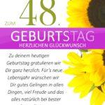 Schlichte Geburtstagskarte mit Sonnenblumen zum 48. Geburtstag