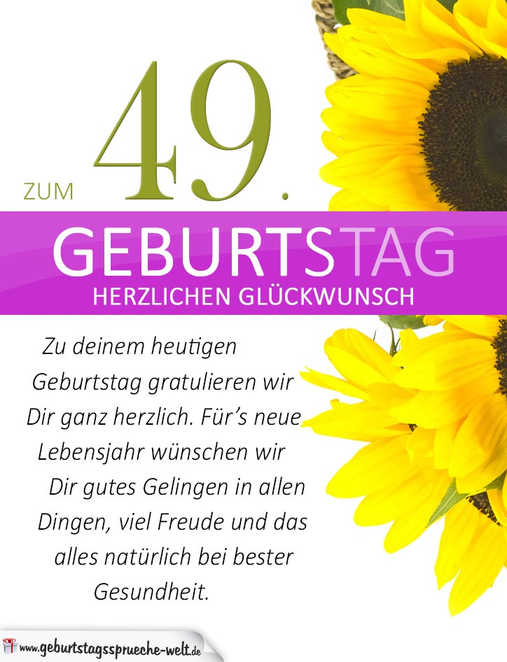 schlichte geburtstagskarte mit sonnenblumen zum 49 geburtstag geburtstagsspr che welt. Black Bedroom Furniture Sets. Home Design Ideas