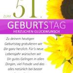 Schlichte Geburtstagskarte mit Sonnenblumen zum 51. Geburtstag