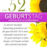 Schlichte Geburtstagskarte mit Sonnenblumen zum 52. Geburtstag