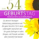 Schlichte Geburtstagskarte mit Sonnenblumen zum 54. Geburtstag
