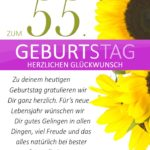 Schlichte Geburtstagskarte mit Sonnenblumen zum 55. Geburtstag