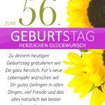 Schlichte Geburtstagskarte mit Sonnenblumen zum 56. Geburtstag
