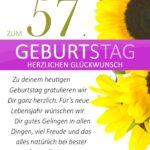 Schlichte Geburtstagskarte mit Sonnenblumen zum 57. Geburtstag