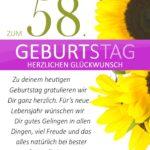 Schlichte Geburtstagskarte mit Sonnenblumen zum 58. Geburtstag