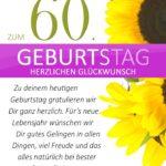 Schlichte Geburtstagskarte mit Sonnenblumen zum 60. Geburtstag