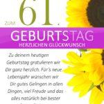 Schlichte Geburtstagskarte mit Sonnenblumen zum 61. Geburtstag