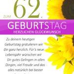 Schlichte Geburtstagskarte mit Sonnenblumen zum 62. Geburtstag