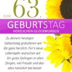 Schlichte Geburtstagskarte mit Sonnenblumen zum 63. Geburtstag