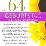 Schlichte Geburtstagskarte mit Sonnenblumen zum 64. Geburtstag