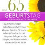 Schlichte Geburtstagskarte mit Sonnenblumen zum 65. Geburtstag