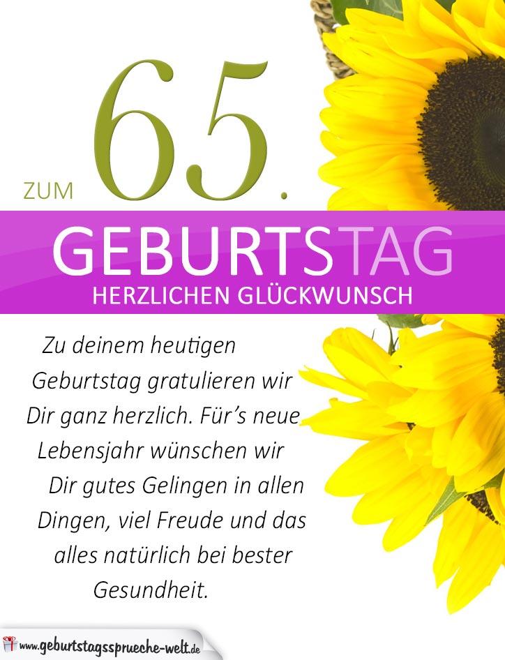 schlichte geburtstagskarte mit sonnenblumen zum 65. Black Bedroom Furniture Sets. Home Design Ideas