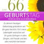 Schlichte Geburtstagskarte mit Sonnenblumen zum 66. Geburtstag