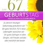 Schlichte Geburtstagskarte mit Sonnenblumen zum 67. Geburtstag