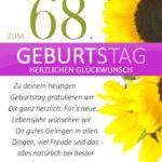 Schlichte Geburtstagskarte mit Sonnenblumen zum 68. Geburtstag