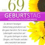 Schlichte Geburtstagskarte mit Sonnenblumen zum 69. Geburtstag