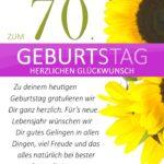 Schlichte Geburtstagskarte mit Sonnenblumen zum 70. Geburtstag