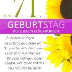 Schlichte Geburtstagskarte mit Sonnenblumen zum 71. Geburtstag