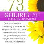 Schlichte Geburtstagskarte mit Sonnenblumen zum 73. Geburtstag