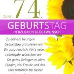 Schlichte Geburtstagskarte mit Sonnenblumen zum 74. Geburtstag
