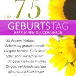 Schlichte Geburtstagskarte mit Sonnenblumen zum 75. Geburtstag