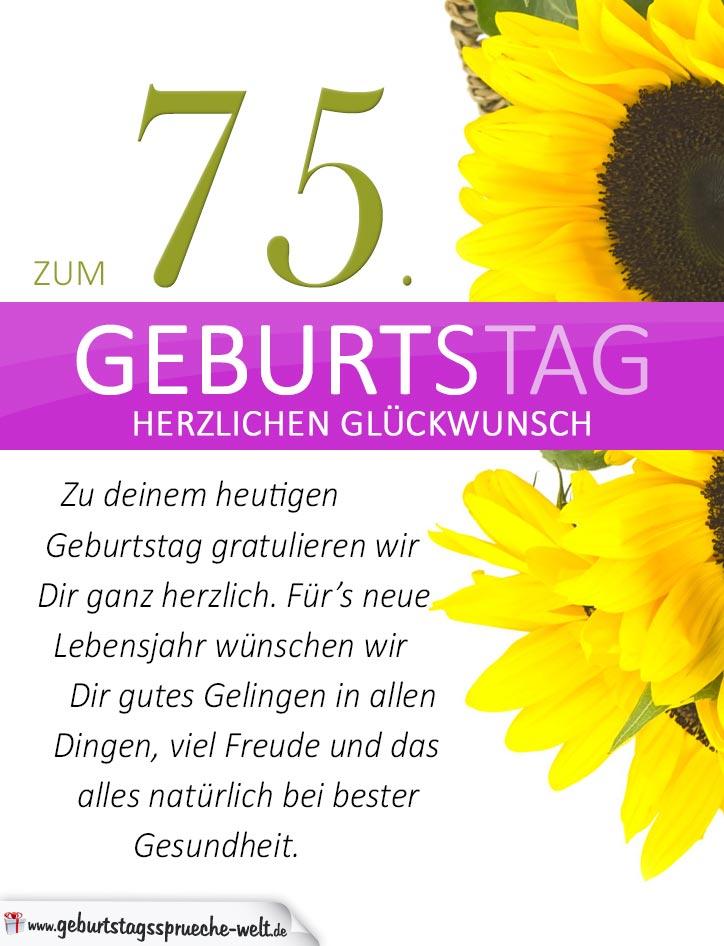 Schlichte Geburtstagskarte Mit Sonnenblumen Zum 75 Geburtstag