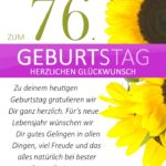 Schlichte Geburtstagskarte mit Sonnenblumen zum 76. Geburtstag