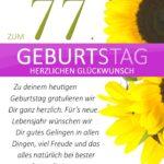 Schlichte Geburtstagskarte mit Sonnenblumen zum 77. Geburtstag