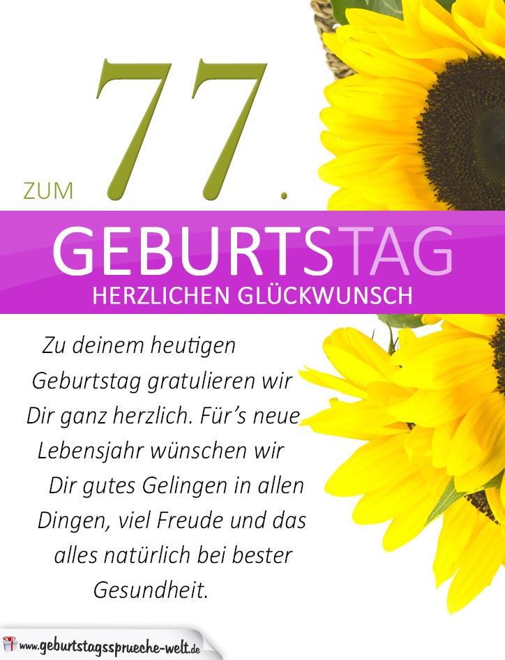 schlichte geburtstagskarte mit sonnenblumen zum 77. Black Bedroom Furniture Sets. Home Design Ideas
