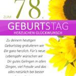 Schlichte Geburtstagskarte mit Sonnenblumen zum 78. Geburtstag