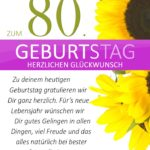 Schlichte Geburtstagskarte mit Sonnenblumen zum 80. Geburtstag