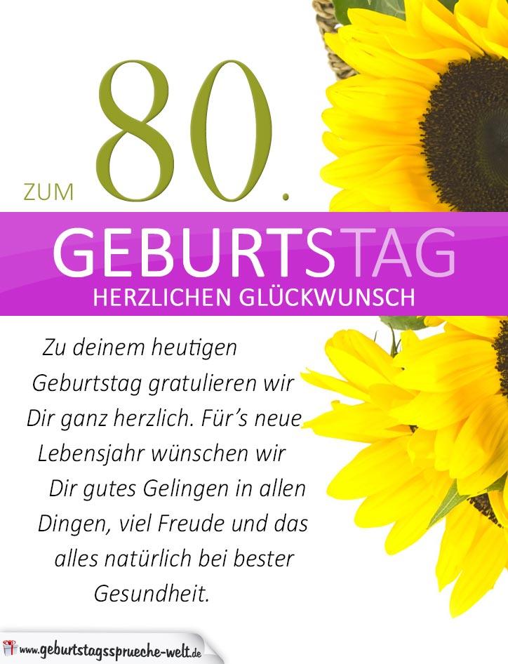 schlichte geburtstagskarte mit sonnenblumen zum 80. Black Bedroom Furniture Sets. Home Design Ideas